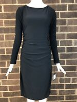 NWT Norma Kamali Kulture Women's Black Shirred Waist Dress Size M