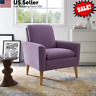 Modern Arm Chair Accent Single Sofa Linen Fabric Upholstered Living Room Plum US
