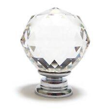moderne argent avec clair à facettes cristal verre porte poignée placard 50mm