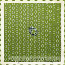 BonEful Fabric Cotton Quilt Green Cream Off White Polka Dot Circle Stripe SCRAP