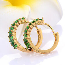 Womens 18K Yellow Gold Plated Green Cubic Zirconia Huggie Hoop Earrings