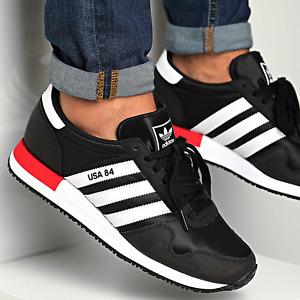 adidas originals USA 84 Trainers Black/White/Red UK Size 10.5 EUR 45.5 - Genuine