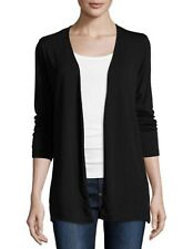 Majestic Paris Neiman Marcus Soft Touch Black Open Front Cardigan Size 4 Large