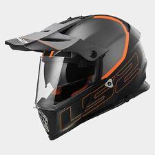 L Large LS2 Pioneer Adventure Motorbike Helmet Black/Orange