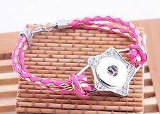 hot new DIY nosa  lether bracelet fit chunk snap button j3948