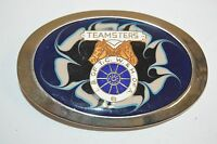 Vintage 1970s TEAMSTERS Union Blue Horses Logo IB of TCW & OF A Belt Buckle Rare