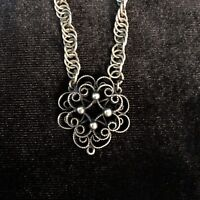 Vintage Lacy Flower Necklace with Pendant Dark Silver
