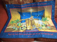 Handmade Toddler Size Quilt Blanket Wall Hanging Veggie Tales Nativity