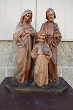 """+ Older Hand Carved Wood """"Holy Family"""" Statue + Germany + chalice co. (CA#460)"""