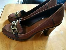 TOMMY HILFIGER Women's Pumps block Heels leather brown Shoes with chain 8.5 M