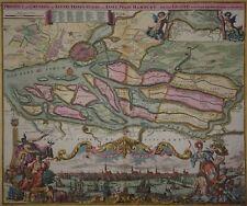 Hamburg Panorama - Original von J.B. Homann um 1730 - Prospect und Grundris...