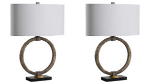 TWO RELIC MODERN TRIBAL INSPIRED ACCENT TABLE LAMP MARBLE BASE UTTERMOST 28371