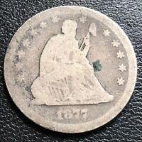 1877 CC Seated Liberty Quarter 25c Circulated #27416