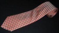 Countess Mara Tie Orange White Square Check TAhick Woven Necktie Silk Luxury NEW
