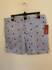 NWT Izod Shorts Womens 10 Striped Crabs Blue Cotton Stretch Golf Beach As Is