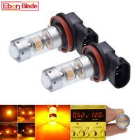 2 x H11 H8 H16 JP LED Fog Light Bulbs 3030 SMD Car Driving Lamp DRL Amber Globe