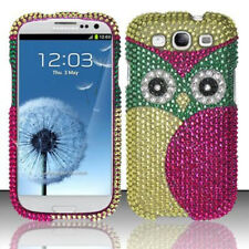 For Samsung Galaxy S III 3 Crystal Diamond BLING Case Phone Cover Green Owl