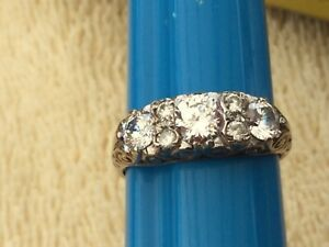GORGEOUS 9ct GOLD DRESS RING WITH CUBIC ZIRCONIA SIZE N1/2