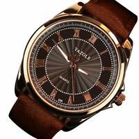 Men's Genuine Leather Stainless Steel Watch Military Sport Quartz Wrist Watch_q