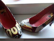 T.U.K. Goth Starlet Retro Pin Up Zapatos De Tacones Altos UK 7 Negro Rojo Dibujos Animados Satanás