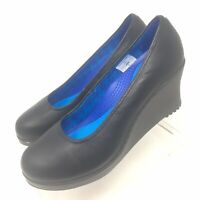 Women's CROCS A-Leigh 14700 Black Leather Closed Toe Wedge Heel Size 8.5