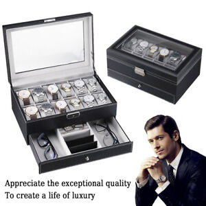 6 10 12 24 Grids PU Leather Watch Display Case Collection Storage Holder Box