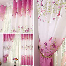 New Pink Butterfly Ready Made Ring Top Eyelet Window Curtains Baby Kid Bedroom