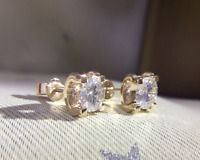 2Ct Round Cut Moissanite Solitaire Stud Earrings Solid 14K Yellow Gold Finish