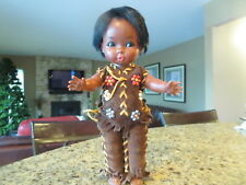 VINTAGE RELIABLE PLASTIC NATIVE INDIAN DOLL LEATHER CLOTHES