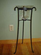 Longaberger Wrought Iron Floor Hurricane Stand + Glass Bell Candle Hanger Holder