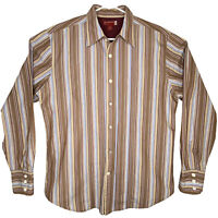 Guess Mens Pearl Button Long Sleeve Brown Stripe Button Down Shirt Size Large