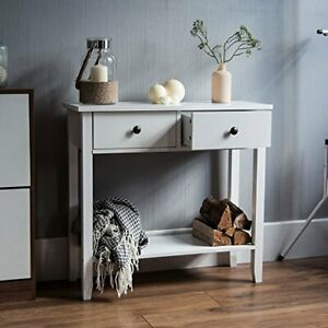 Vida Designs Windsor 2 Drawer Console Table With Shelf, White Wooden Hallway