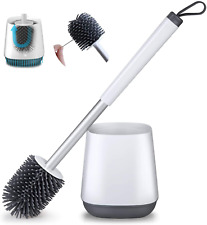 Brush and Holder Set for Bathroom with Aluminum Handle Toilet Bowl Brush Set Wh