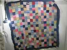 Vintage Hand Sewn Quilt Top Only- Dark Blue Border- Squares Pattern QT#5