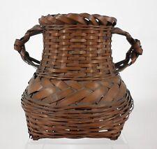Vintage IKEBANA Japanese Folk Art 2-Handled Bamboo Basket Floral Vase