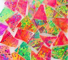 100 pieces of NEON MULTICOLOR GLITZ  Premium Glitter Glass Mosaic Tiles