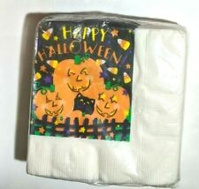 "Vintage Napkins 10"" Happy Halloween 24 Beverage/Cocktail Pumpkins/Cat/Candy NEW"
