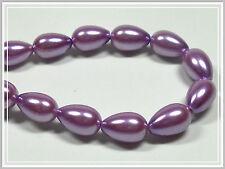 30 Glaswachsperlen Tropfen Glass Pearls 11*7 Glasperlen violett