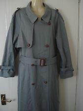 Womens Nuage Trench Double Breasted Grey Blue Raincoat Mac Coat Mackintosh 16 UK