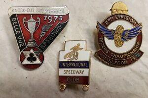 Vintage Metal & Enamel Speedway Badges x 3 - 1972-1973