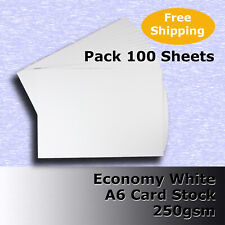 100 Sheets Economy 250gsm White A6 Size Blank Card Stock G Purpose #h5302 #dlhh
