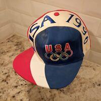 Vintage 90s Atlanta Olympics 1996 Spellout USA Swirl Snapback Hat Cap