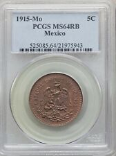 MEXICO ESTADOS UNIDOS 1915  5 CENTAVOS COIN CERTIFIED UNCIRCULATED PCGS MS64-RB