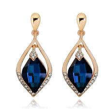 Gold Tone Navy Dark Blue Queen Bridal Luxury Party Long Drop Stud Earrings E1277