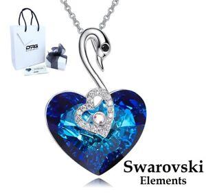 Collana Donna SWAROVSKI Elements Cigno Ciondolo Cuore Blu Oceano Originale Oro