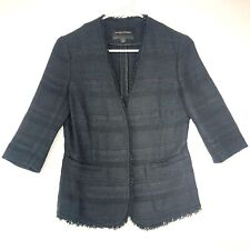 Banana Republic Tweed Boucle Open Blazer Jacket Womens 6 Black Fringe Trim