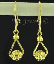 18k solid yellow gold stylish  dangling  earrings diamond cut lever back  #1333