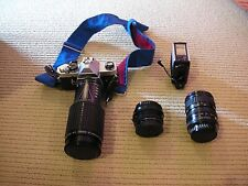 VINTAGE  (1981) PENTAX MX SLR CAMERA with 3 lenses, auto-flash and filtere