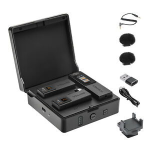 COMICA VDLive10 USB 2.4G Wireless Lavalier Mic+Charging Case For iPhone Camera