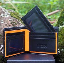 """LARIKIN """"Golden Rule"""" Mens 2 in 1 GENUINE LEATHER Wallet Black w Orange Gift Box"""